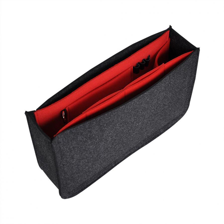 Organizer z filcu do torebki - grafitowy z czerwonym wnętrze ... 06cff89b7ab