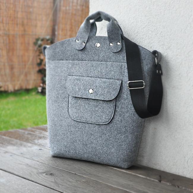 901cd243128c4 Torebka filcowa - Biggest bag - szary filc z kieszonką - Torebki ...
